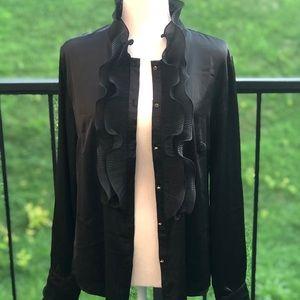 Nylon Apparel Black Ruffled Bloused Size Large